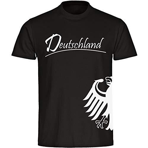 VIMAVERTRIEB Herren T-Shirt Deutschland Adler seitlich schwarz - Männer Shirt Fanartikel Fanshop Fußball Trikot EM WM Germany, Größe:5XL,Farbe:schwarz
