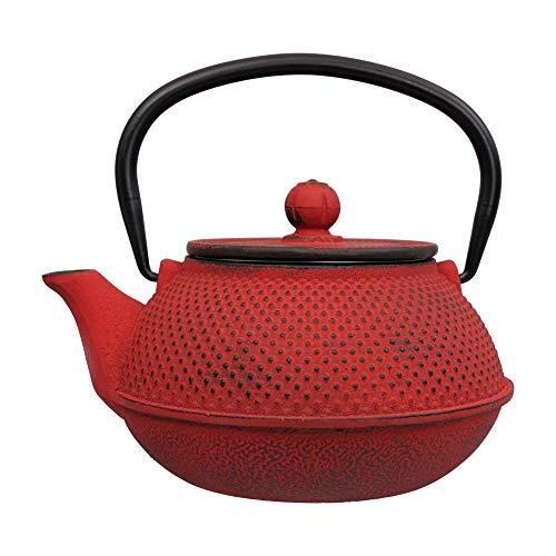 Tealøv TEEKANNE GUSSEISEN 800 ml - Gusseisen Teekanne im japanischen Stil - Gusseiserne Teekanne mit Sieb aus Edelstahl - Hervorragende Wärmespeicherfähigkeit - Langlebig - Arare Japan Rot