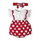 iFCOW Baby Strampler mit Stirnband Kleinkind Baby Mädchen Outfits Set Baby Gepunktet Rüschen Strampler mit Bowknot Stirnband Gr. 42, Weiß/Rot