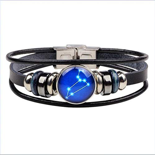 Armband 12 Constellatie Zwart Leer Leo Maagd Weegschaal Geweven Glas Dome Sieraden Punk Mannen Armbanden