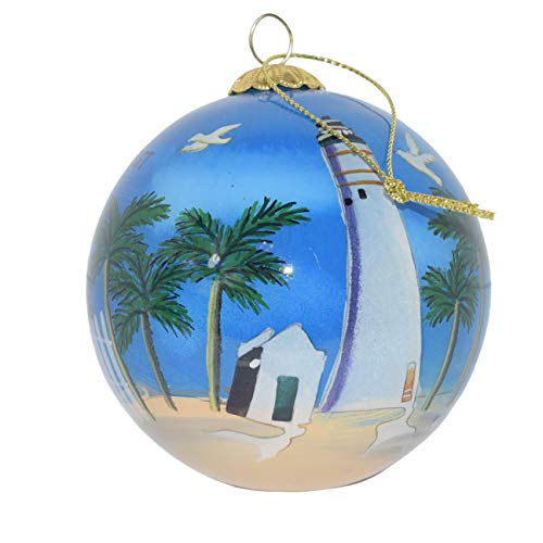 Hand Painted Glass Christmas Ornament - Key West Lighthouse with Seagulls Key West