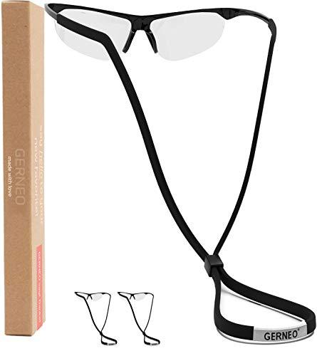 GERNEO® - DAS ORIGINAL - 2er Set - Premium Brillenband Sport & Sportbrillenband - extrem zuverlässiges Brillenband für Sportbrillen, Sonnenbrillen, Lesebrillen – Wasserfest (2x Tiefschwarz)
