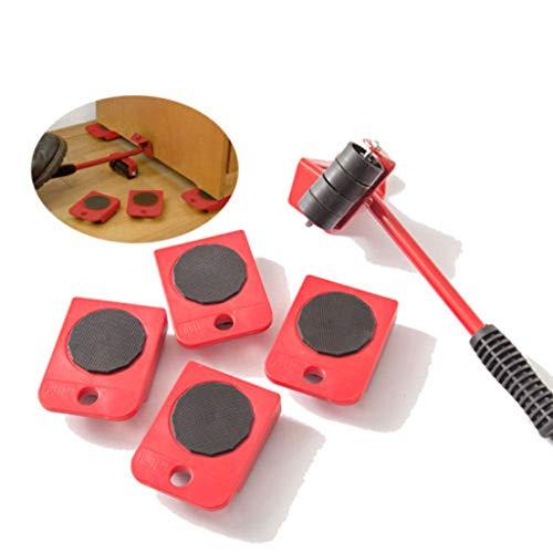 5-teiliges Möbel Transportroller, Möbelheber Umzugsset mit 4er-Pack Möbelschieber,Heavy Furniture Roller Bewegen Werkzeugsatz zum mühelosen Verschieben von Möbeln Umzugshelfer (Max 200kg)