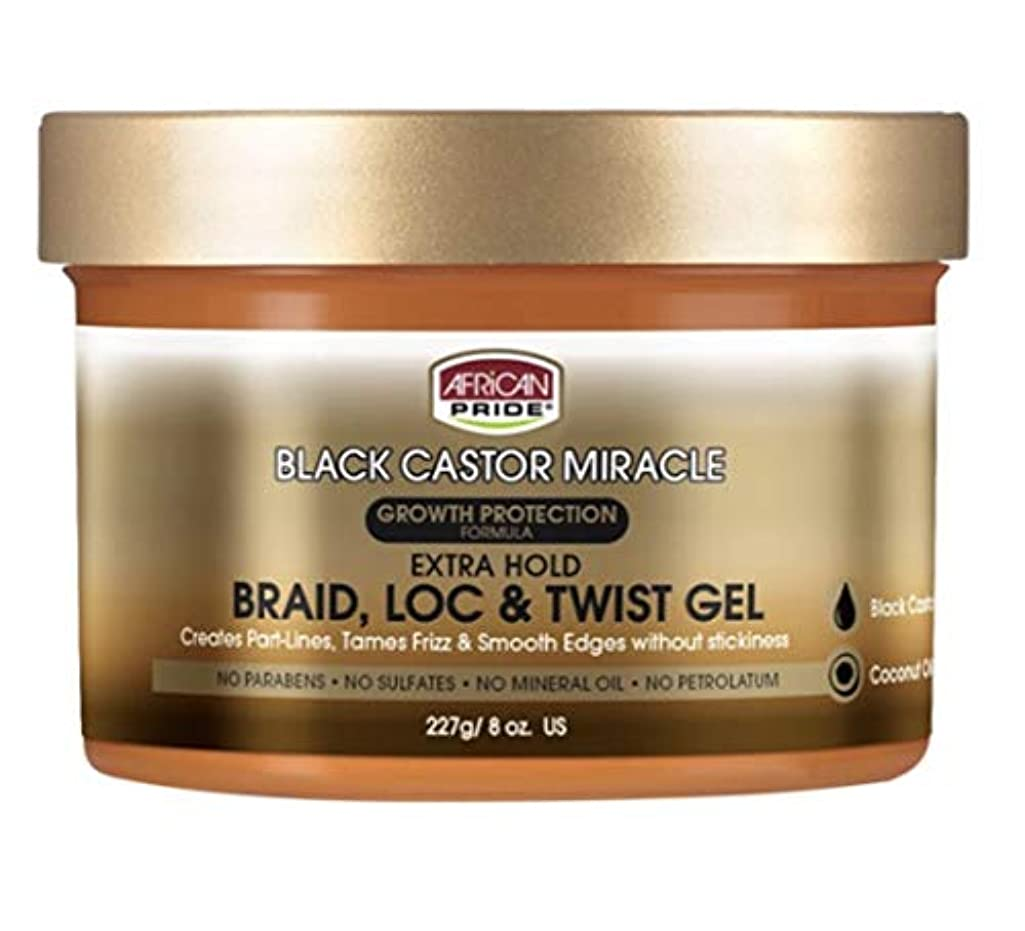 [Pack of 3] AFRICAN PRIDE BLACK CASTOR MIRACLE EXTRA HOLD BRAID LOC & TWIST GEL 8OZ