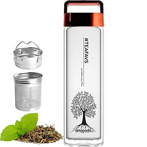 amapodo Trinkflasche aus Glas doppelwandig für Tee mit Sieb 400ml, Teeflasche, Flasche mit Fruchteinsatz und Deckel Rot