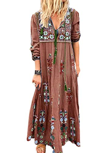 CORAFRITZ Vestido de mujer bohemio, estilo retro, con cuello en V, estampado floral, manga larga, vestido de fiesta, vestido de verano y playa