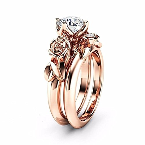 Clearance Rings Daoroka Women's Rose Floral Lucky Flower Leaf Diamond Rings Jewelry Gift Wedding Engagement Floral Ring Set (5, Rose Gold)