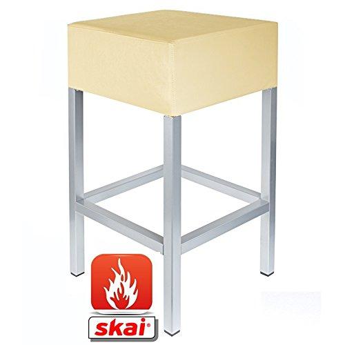 Kaikoon barkruk parel crème/zilver B1 afmetingen: 34 cm x 34 cm x 82 cm vlamvertragend