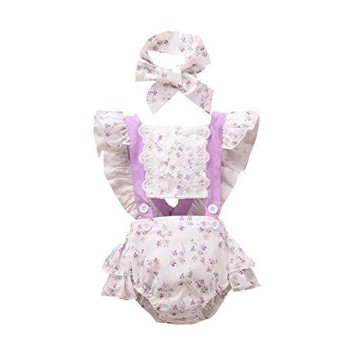 WAo Body para bebé recién nacido con estampado de flores y cintas para la cabeza morado 70 cm