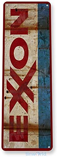 Tinworld Tin Sign Exxon Rusty Rustic Retro Gas Oil Metal Sign Decor Auto Shop Garage Cave A359