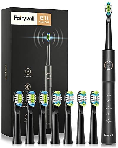 Elektrische Zahnbürste Fairywill Schallzahnbürste E11 mit 8 Aufsteckbürsten, 5 Putzprogamm mit 2 Minuten Timer, Eine Aufladung dauert 30 Tage, IPX7 Wasserdicht Electric Toothbrush, Schwarz