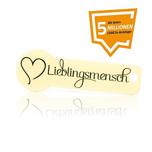 Code24 Einkaufswagenlöser Lieblingsmensch, beiger Schlüsselanhänger mit Einkaufschip & Schlüsselfinder, inkl. Registriercode für Schlüsselfundservice, Einkaufswagenchip mit Profiltiefenmesser
