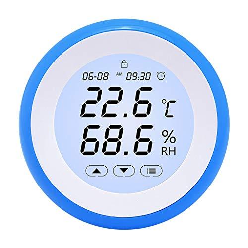 Thermomètre Thermomètre de température électronique avec hygromètre temps Réveil Calendrier écran tactile rétro-éclairage Bureau Accueil Chambre bébé thermomètre à affichage numérique (thermomètre int