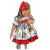 Frashing Kinder Mädchen Prinzessin Kleider mit Großer Bogen Abdeckung Neugeborene Taufkleid Partykleid Rockabilly Kleid Elegante Weihnachten Print Kleider Kurzarm Outfits