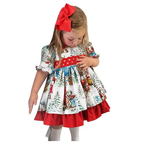 Mamum Enfant en Bas âge Bébé Filles De Noël Dessin Animé Noël Santa Dress Robe De Princesse Jupe Jarretelles