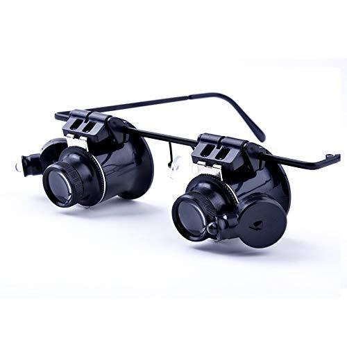 QINGJIA 20 Veces Lupa lupas Gafas Ajustables Manos Libres Reloj de la batería de reparación de relojero Lupa # 21 LED Lectura/Obeservación/Reparación