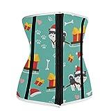Women Neoprene Waist Trainer Corsets for Weight Loss, Christmas Siberian Husky Dog Waist Cincher Underbust Body Shaper,XXXL