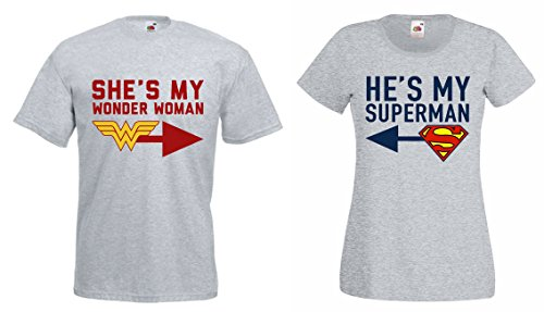 TRVPPY Partner Herren + Damen T-Shirts She´s My Wonderwoman & He´s My Superman, Herren XL, Damen...