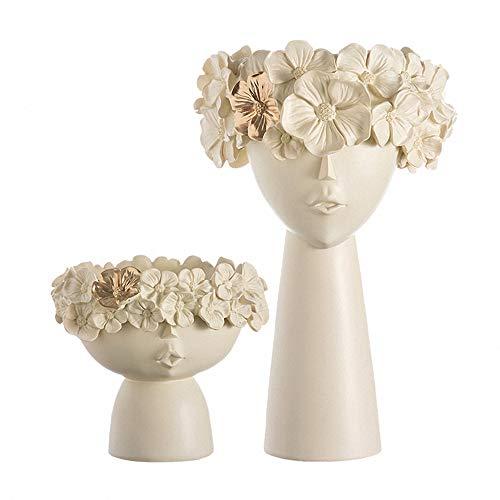 AUKBEC 1 Paar Kreative Menschlicher Kopf Vase Plantpot Skulptur Harz Blumentopf Dekoration kreative Bonsai Kunst Haus Modell Raum Vase Garten,Weiß