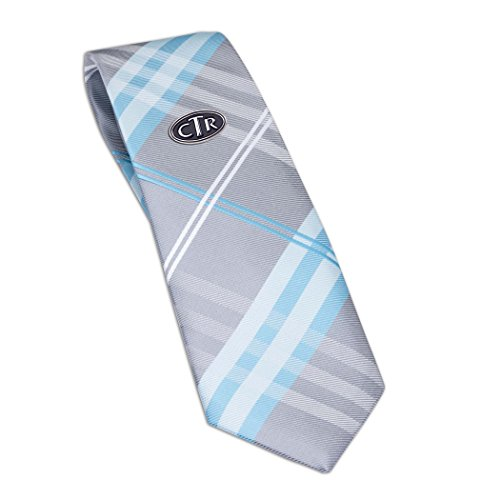 Boys Aqua Plaid Tie with CTR Tie Pin for Baptism, 45-inch