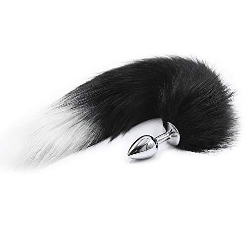 BONDAGERIE® Coda Fox Tail Nera con punta bianca