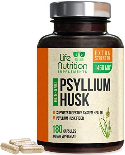 Psyllium Husk Capsules High Potency Dietary Fiber 1450mg - Psyllium Powder Supplement - Made in USA - Best Vegan Soluble Pills, Helps Support Digestion & Regularity - 180 Capsules