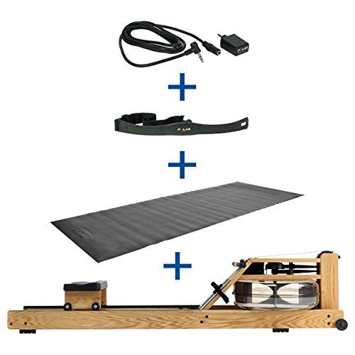 Water Rower Rudergerät Eiche +S4 Monitor Pulsempfänger Brustgurt Bodenschutzmatte