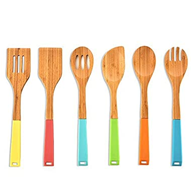 Colorful Silicone Handle Bamboo Spoons Non-stick Kitchen Cooking Utensil Set,6-piece Utensils for Kitchen with Silicone Handles in Red Yellow Green Orange Blue,Real Natural Wooden spoon