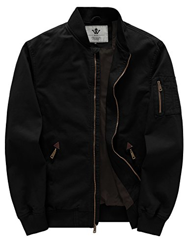 WenVen Men's Fall Cotton Casual Bomber Jacket (Large, Black)
