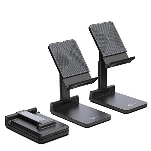 Stojak na telefon komórkowy Tounee, w pełni składany uchwyt na telefon na biurko, regulowana wysokość podstawka kompatybilna z iPhone 11 Pro Xs Xs Max Xr X 8 7 6 6s Plus (4,7-8), Samsung Galaxy, wszystkie telefony (czarny)