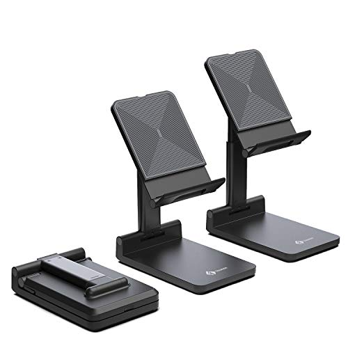 Tounee Cell Phone Stand, Fully Foldable Phone Holder for Desk, Height Adjustable Cradle Compatible with iPhone 11 Pro Xs Xs Max Xr X 8 7 6 6s Plus (4,7-8'),Samsung Galaxy,All Phones (Black)