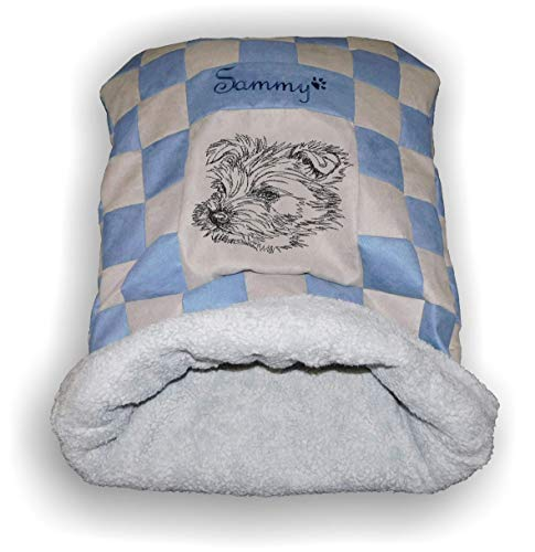 LunaChild Handmade Hunde Kuschelhöhle Schlafsack Kuschelsack Hundebett West Highland Terrier 1 Name Wunschname Größe S M L oder XL viele Farben personalisiert Geschenk