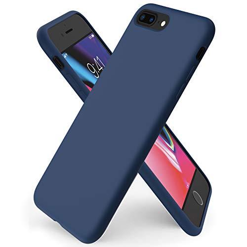 ORNARTO Coque iPhone 8 Plus en Silicone, iPhone 7 Plus Protection Complète du Corps,Case Fine en Caoutchouc Liquid Silicone Protection Anti-Choc Housse Étui 5,5 -Marine Intense