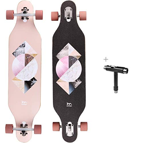 M Merkapa 41 Inch Drop-Through Longboard Skateboard Cruiser (Geometric)
