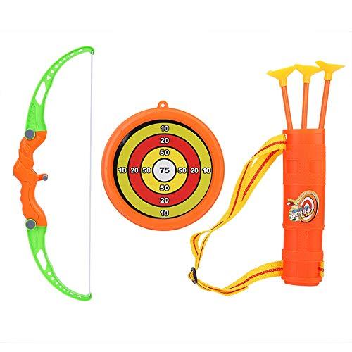 Alomejor Juego de Juguete con Arco y Flecha para Tiro con Arco para niños Arco Simulación de Juguete con 3 Flechas duras de Ventosa y Objetivo para niños y niñas