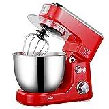 Stand Mixer Potente Potenza Mescolare in Modo Uniforme da Cucina Mixer Tridimensionale di Raffreddamento Antiscivolo Splash Proof Frullino Elettrico,Rosso