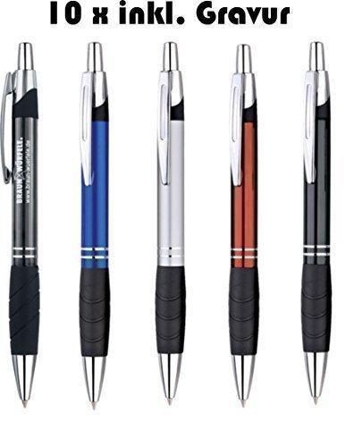 10 Stück Exklusiver Kugelschreiber aus Aluminium mit blau schreibender Großraummine, Gummigrip, Logo Gravur Werbeanbringung graviert als Lasergravur (silber)