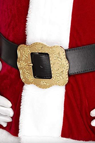 SMIFFYS Smiffy's Cintura di Babbo Natale deluxe, nera, con fibbia decorata Uomo, Nero, Taglia unica, 21422
