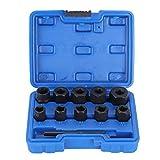 Yctze Juego de removedor de tuercas, acero al carbono 11pcs/set Removedor de bloqueo de tuercas dañadas Juego de llaves de vaso giratorias de tamaño de impulsión de 3/8 pulgadas Juego de caja