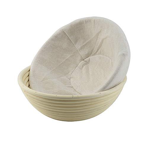Jroyseter Cesta de Pan Redonda Múltiples tamaños Cesta de fermentación de Masa de Pan Trenzado de ratán Natural con Forro de Lino para panadería de Cocina casera (20 x 8cm)