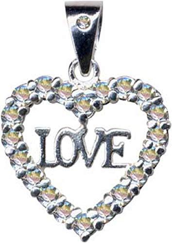 Corazón Love Love Love Colgante de plata de ley 925 con circonitas, cristales brillantes, joyería de plata de ley 925, extravagante, color blanco