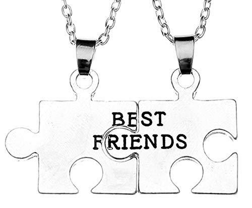 Dos collares para hombre y mujer – Mejores amigos para 2 – Amistad – Puzzle X 2 – Best Friends – BFF – Colgantes – Color plata – Desmontadas – Encajadas – Divise – Rotas – mitad – Pareja
