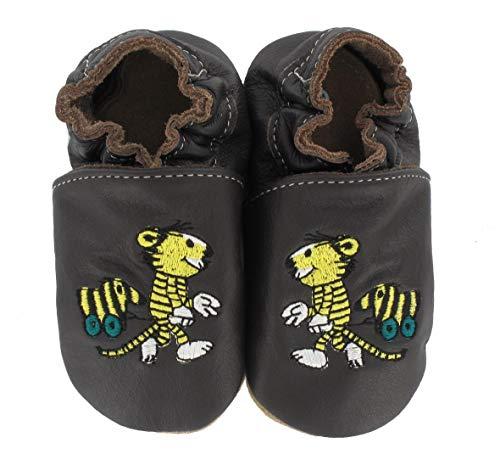 HOBEA-Germany Krabbelschuhe Design: Janosch Tiger mit Tigerente, Größe Schuhe:20/21 (12-18 Mon), Uni Schuhe:braun
