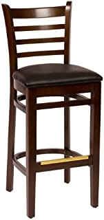BFM Burlington Ladder Back Barstool Walnut Black Vinyl Seat Model Lwb101Wablv