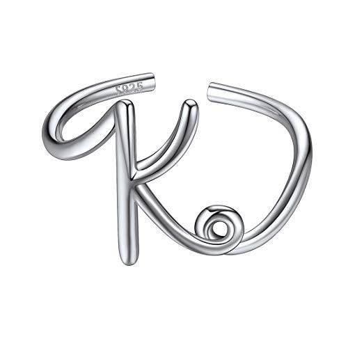 ChicSilver Letras Mayúsculas K Anillos Hipoalergénicos Plata de Ley 925 para Jovenes Belleza Regalo Bueno para Compromiso Boda Joyería Nombres Personales