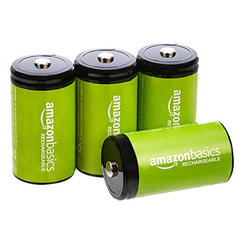 Amazon Basics – D-Zellen, wiederaufladbare Batterien, 10.000 mAh, NiMH, 4er-Packung (das Aussehen kann variieren)