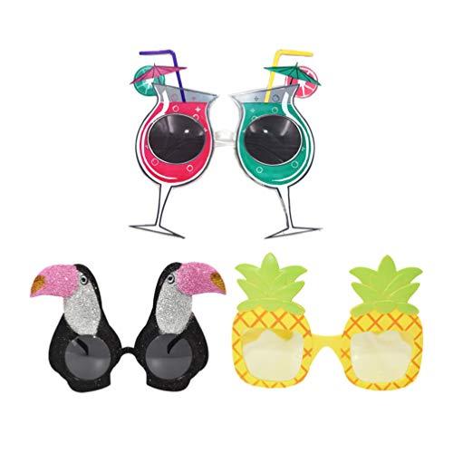 STOBOK Gafas de Sol de Fiesta de Novedad de 3 Piezas Taza de Piña de Tucán Gafas Tropicales Gafas con Temática Hawaiana Accesorios de Fotomatón de Playa para Niños Adultos