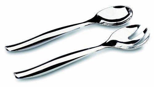 MOZAIK Metallised Plastic Salad Serving Spoon & Fork Set (2 Serving Salad Forks, 2 Serving Salad Spoons)