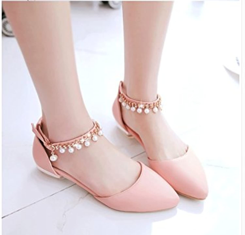 WHW Women's Spring Summer Comfort PU Dress Casual Flat Heel Magic Tape Sandals,33,pinkred