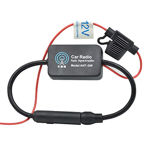 WEKON Amplificador de Señal de Radio de Coche, Atena Amplificador de Radio Auto, Antena Amplificador Radio Am/FM/Dab Coche Fortalecimiento de Señal Negro